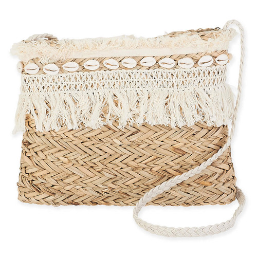 "NATURAL STRAW CROSS BODY | ZIPPER TOP | 12""x 1.25"" x 9.25"""