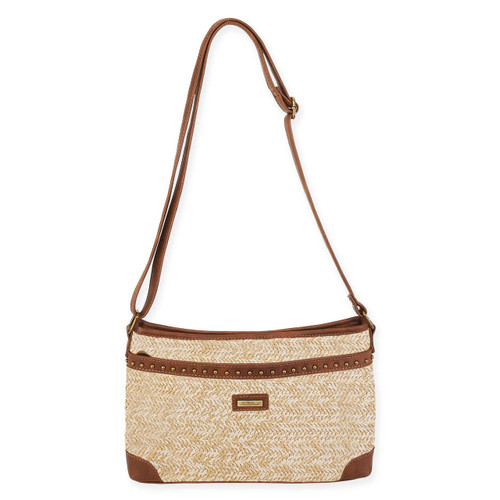 "POLY STRAW CROSS BODY | ZIPPER TOP | 11.5"" x 1.75"" x 8"""