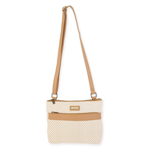 "POLY STRAW CROSS BODY | ZIPPER TOP | 10"" x 2.25"" x 9"""