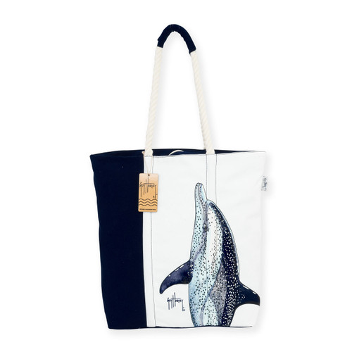 "DOLPHIN AQUATIC ICONS SHOULDER TOTE | Wrap Around Print | 16""x 4""x 17"" 
