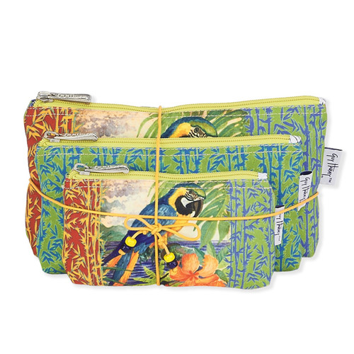 "G.H. PARROT PALACE 3-IN-1 COSMETIC BAG | 10.75"" x 6"""