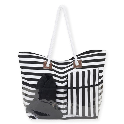 "WOSP BAY BAG & HAT SET | Tote: 22"" x 7.5"" x 15"" | Cosmetic Bag: 11"" x x7"" | Hat 3.5"" Brim"