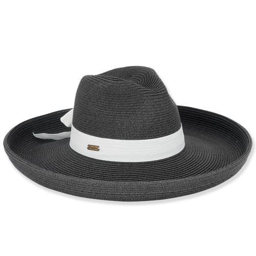 """SEWN PAPER BRAID HAT W/GROSGRAIN TRIM  BRIM 5.5"""""""