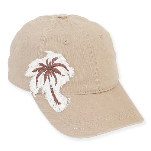 "BASEBALL HAT W/PALM FRINGE  BRIM 2.75""  PALM"