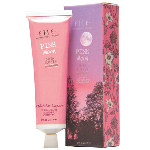 Pink Moon Shea Butter Hand Cream 2.4 oz aluminum tube with decorative box