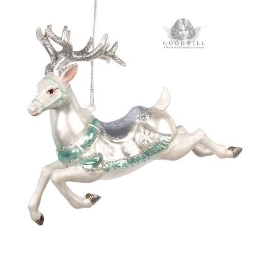 Handmade Glass Reindeer Christmas Tree Ornament