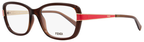 Fendi Rectangular Eyeglasses F1038 209 Size: 52mm Brown/Gold/Red 1038