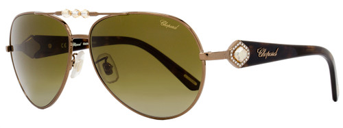 Chopard Aviator Sunglasses SCH997S R80P Shiny Bronze /Havana Polarized 997