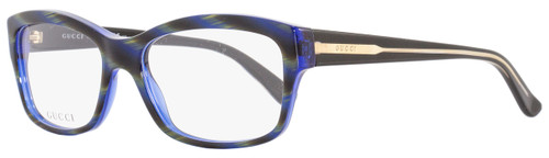 Gucci Rectangular Eyeglasses GG3205 Y0A Size: 53mm Blue/Olive Horn 3205