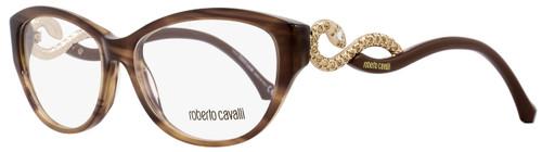 Roberto Cavalli Oval Eyeglasses RC938 Prijipati 047 Size: 54mm Striped Brown/Gold 938