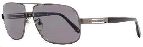 Montblanc Rectangular Sunglasses MB368S 13D Dark Ruthenium/Black Polarized 368S