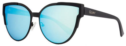 Quay Oval Sunglasses QW000151 Game On BLK-BLUE Matte Black 151