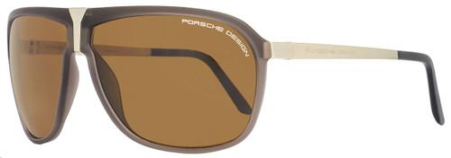 Porsche Design Wrap Sunglasses P8618 C Brown/Light Gold Polarized 8618