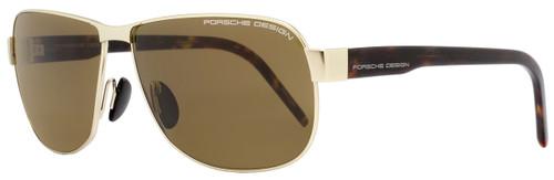 Porsche Design Rectangular Sunglasses P8633 B Light Gold/Havana 8633