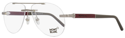 Montblanc Aviator Eyeglasses MB446 008 Size: 58mm Ruthenium/Amaranth Wood 446