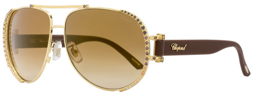 Chopard Aviator Sunglasses SCHA66S 300X Yellow Gold/Brown A66