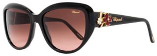 Chopard Rectangular Sunglasses SCH147S 0700 Shiny Black 147
