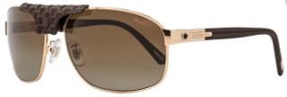 Chopard Rectangular Sunglasses SCH907 8FCZ Gold/Brown Polarized 907