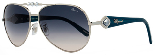 Chopard Aviator Sunglasses SCH997S 0579 Palladium/Turquoise 997