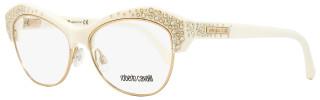 Roberto Cavalli Butterfly Eyeglasses RC930 Phecda 024 Size: 53mm Ivory/Gold 930
