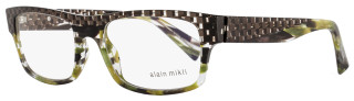 Alain Mikli Rectangular Eyeglasses A01251 B0G5 Size: 53mm Brown/Green Melange 1251