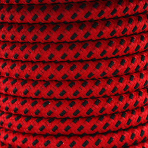 Red And Black Round Fabric Cable 3Core [2166368]