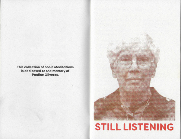 Spread from Sonic Meditations with a tritone picture of Pauline Oliveros.