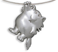 Hang In There - Cat Pendant with Cable Necklace