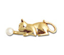 14k Gold Cat Playing With a Pearl - Pin