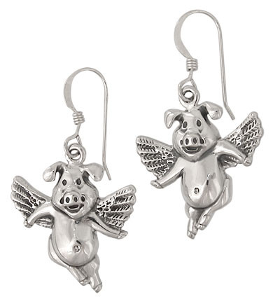 Sterling Silver Flying pig earrings
