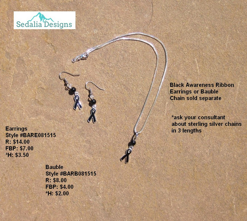 Black awareness ribbon Bauble & Earrings