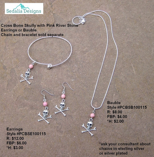 Pewter Crossbone Bauble & Earrings