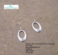 Sterling Silver Oval Floret Earrings