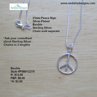 Silver Plated Peace Sign Bauble