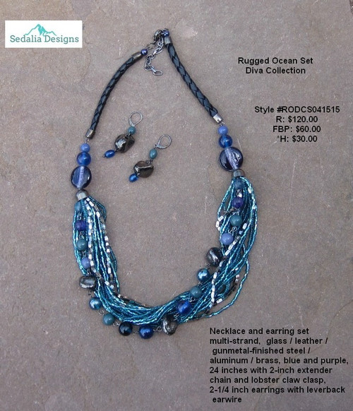 Rugged Ocean Set, necklace & earrings