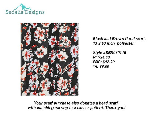 Floral, black & brown scarf