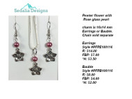 Pewter Flower bauble & earrings