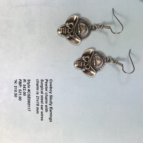 Skully cowboy earrings