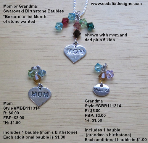 Mom bauble with 2 swarovski crystal, please list stone choices below.