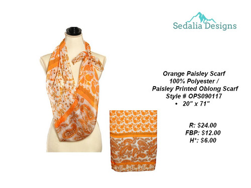 Scarf, paisley orange