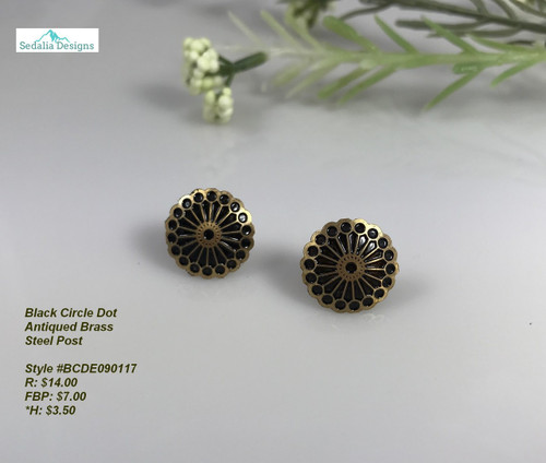 Antiqued brass w/black enamel earrings