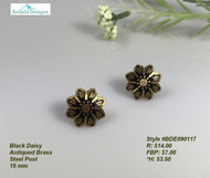 Daisy earrings, antique brass