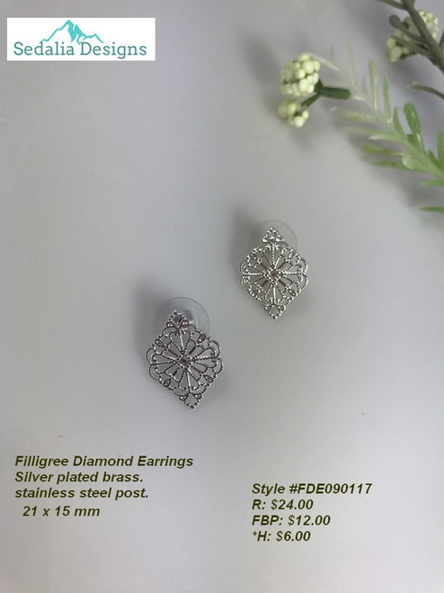 Filigree Diamond shaped earrings