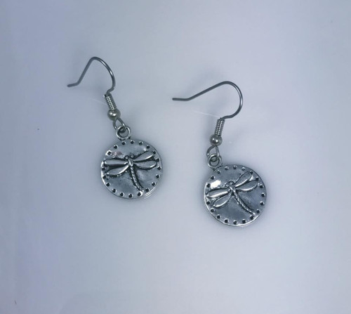 Only 1.00 Made in USA  Resell for 5.00 or more Pewter dragonfly disc  Surgical steel ear wires