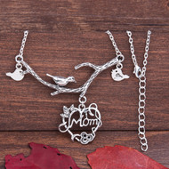 "resell for 12.00 or more  3D Necklace Antique Silver Mother Bird Flower Vine Message "" Mom "" 50.5cm(19 7/8"") long"