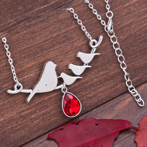 "resell for 12.00 or more  Necklace Antique Silver Red Mother Bird Drop Faceted 50cm(19 5/8"") long"