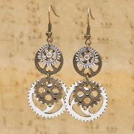"resell for 12.00 or more  Steampunk Earrings Antique Bronze Gear 60mm(2 3/8"") x 23mm( 7/8"")"