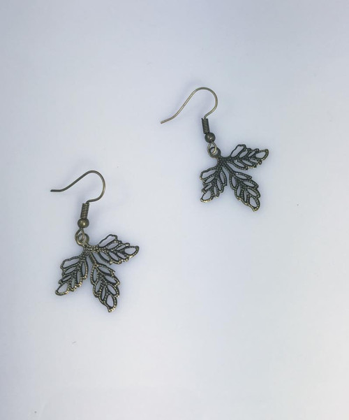 Resell for 5.00 or more Antiqued brass leaf Steel earwires