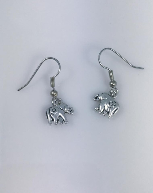 Resell at 5.00 or more  Pewter elephant with flower Surgical steel ear wires