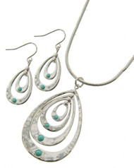 "resell for 50.00 or more  Silver Plated / Lt.green Acrylic / Lead, Nickel & Cadmium Safe / Metal / Fish Hook (earrings) / Graduating / Teardrop Pendant / Necklace & Earring Set  •   LENGTH : 16"" + EXT •   PENDANT : 1 1/4"" X 2"" •   EARRING : 1/2"" X 1 1/2""  •   SILVER"